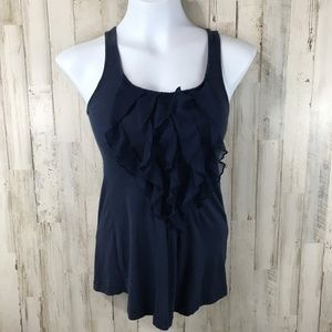 Lush Womens Top Blue Scoop Neckline Ruffled Front